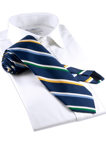 Mogador Silk Stripe Tie in Navy and Green