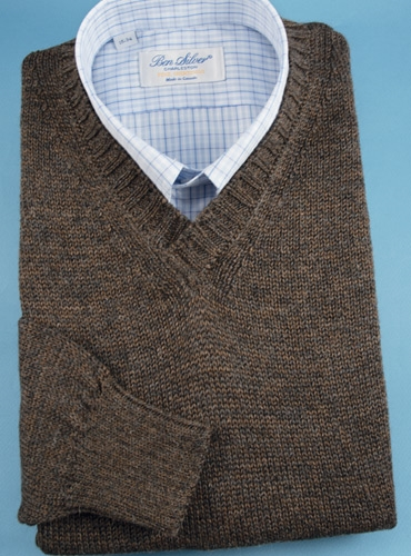 Alpaca and Silk V-neck Sweater in Mocha