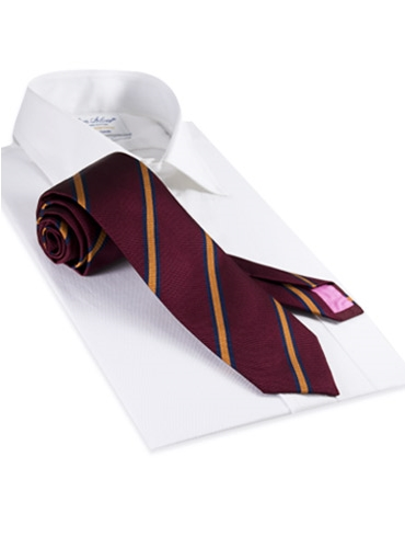 Silk Woven Stripe Tie in Claret and Saffron