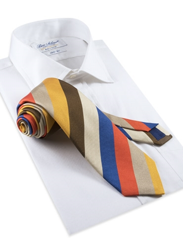 Silk Woven Multi-Stripe Tie in Tangerine