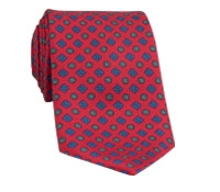 Silk Printed Tie With Flower and Diamond Motif in Red