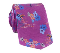 Silk Tropical Printed Tie in Orchid