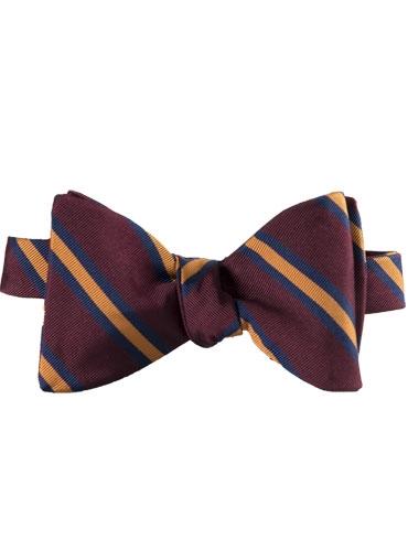Mogador Silk Stripe Bow Tie in Claret and Amber