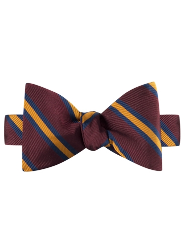 Mogador Silk Stripe Bow Tie in Claret and Amber
