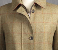 Ladies Wool Field Coat in Olive with Windowpanes