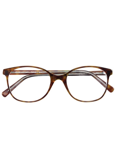 Lafont Arched Semi-Square Frames in Brown and Crystal with Teal