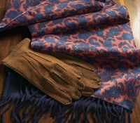 Silk Paisley Print Scarf with Solid Wool Reverse