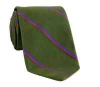 Tie Silk Stripe Field Green