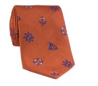 Silk Woven Tie with Sailing Motif in Orange