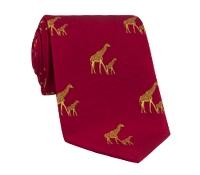 Silk Woven Giraffe Motif Tie in Ruby