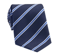 Silk Stripe Tie in Navy and Cornflower