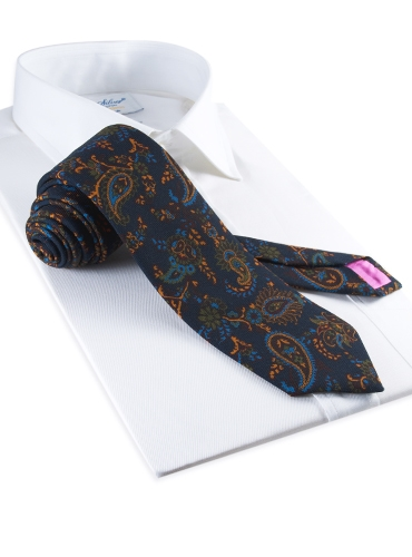 Wool Print Paisley Tie in Navy