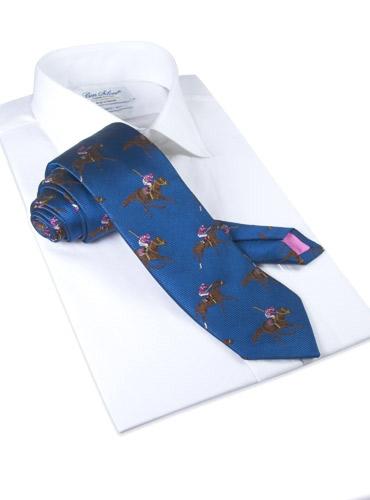 Silk Woven Derby Motif Tie in Marine