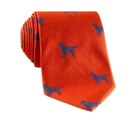 Jacquard Woven Lab Motif Tie in Tangerine and Cornflower Blue