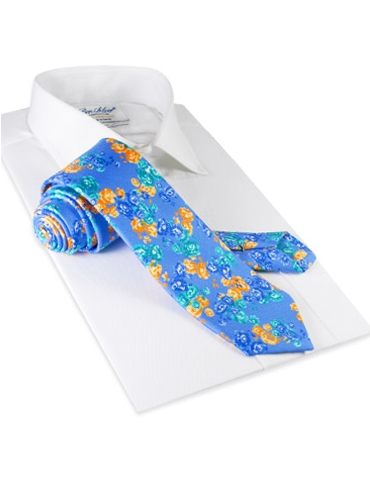 Silk Floral Print Tie in Cornflower