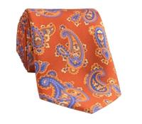 Silk Print Paisley Tie in Tangerine