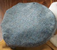 Wool Garforth Cap in Atlantic Blue Herringbone