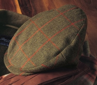 Wool Helmsley Cap in Olive with Red Windowpanes