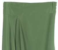 Marie Meunier Reversible Draped Silk Skirt in Green and Mocha