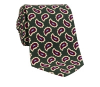 Wool Print Paisley Tie in Field