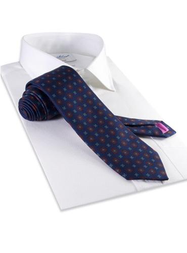 Silk Flower Motif Tie in Navy