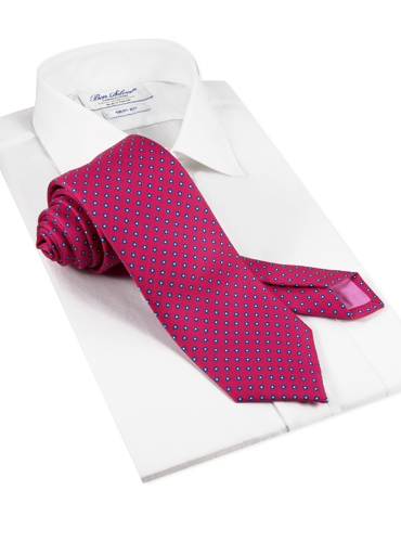 Silk Dots Printed Tie in Pink
