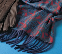 Paisley Silk Scarf with Cashmere on Reverse in Red and Navy Pattern