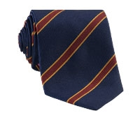 Silk Woven Stripe Tie in Navy and Claret