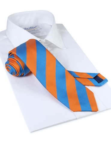 Silk Block Stripe Tie in Orange and Azure