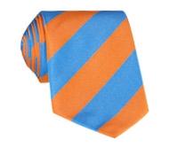 Silk Block Stripe Tie in Orange and Azure
