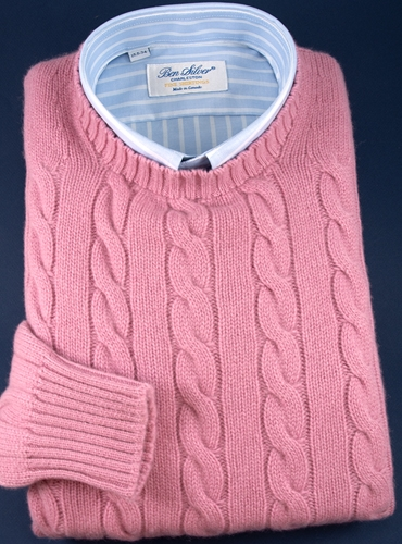 Cashmere Cable Knit Sweater in Rose
