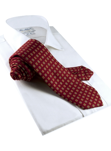 Wool & Silk Printed Neat Tie Red