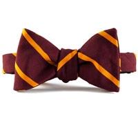 Mogador Silk Bar Stripe Bow in Claret and Marigold