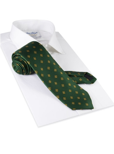 Silk Diamond Print Tie in Kelly