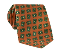 Silk Madder Print Tie with Tossed Square Motif in Copper