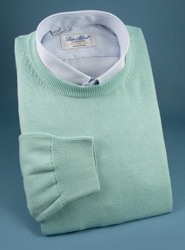 Cotton Crewneck Sweater in Aqua