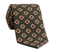 Wool Diamond Printed Tie in Field