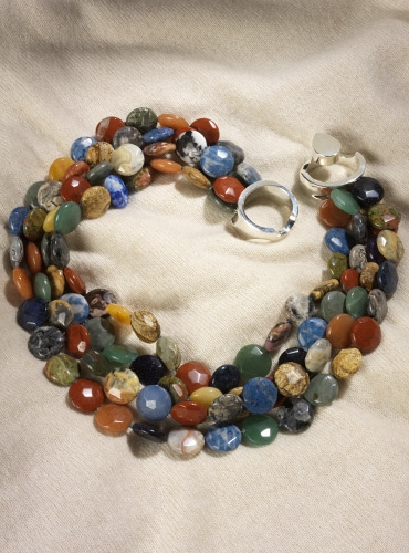 4-Strand Coin Shape Multicolor Semi-Precious Stone Beads