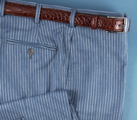 Wool, Silk, and Linen Trousers in Blue with Cream Stripe