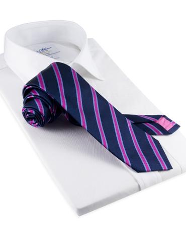 Silk Stripe Tie in Magenta and Sky