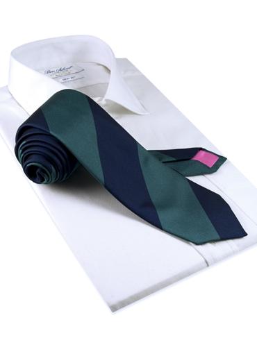 Silk Block Stripe Tie in Teal