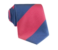 Silk Block Stripe Tie in Magenta and Denim