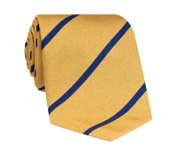 Silk Bar Striped Tie in Marigold with Navy