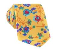 Silk Floral Print Tie in Marigold