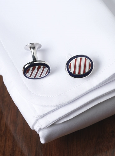 Oval Cufflinks in Navy with Red and White Stripes