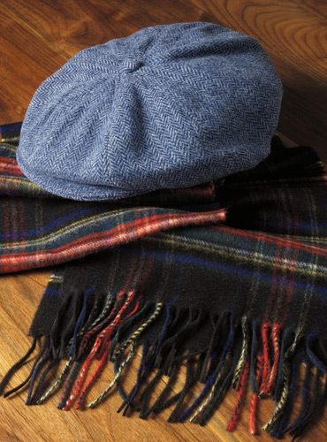 Wool Halifax Cap in Royal Blue Herringbone