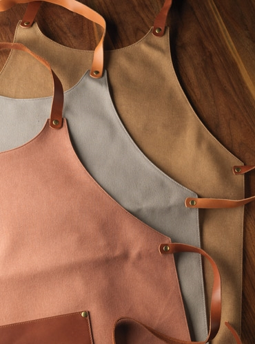 Cotton Canvas Aprons with Leather Detailing
