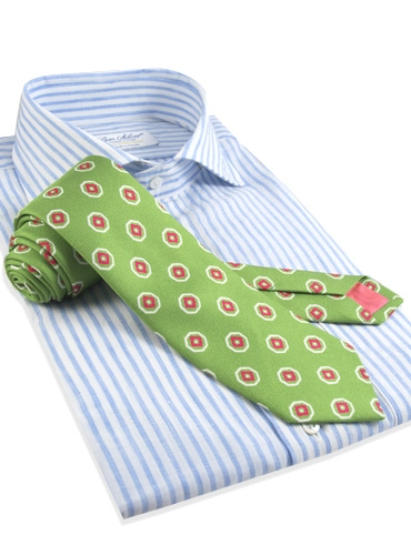 Silk Print Octagon Motif Tie in Lime