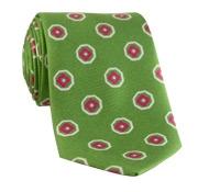 Silk Print Octagon Motif Tie in Lime