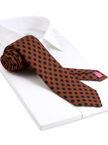 Wool Printed Dots Tie in Oak